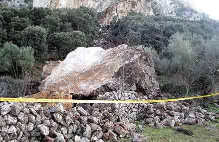 El yacimiento de Son Matge, en Valldemossa, sepultado por un derrumbe de rocas